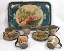 Antique Toleware Demitasse Chocolate Set Fruit 6 Cups & Saucers Tray Germany