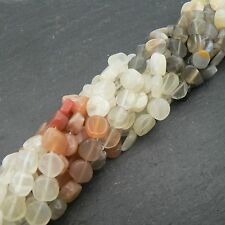 "Multi Moonstone Coin Beads 15"" Strand Semi Precious Gemstone"