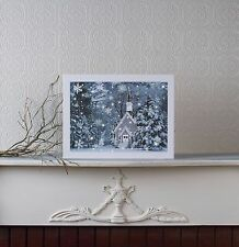 Snowing Church in Winter Lighted Picture w Timer x47236 NEW