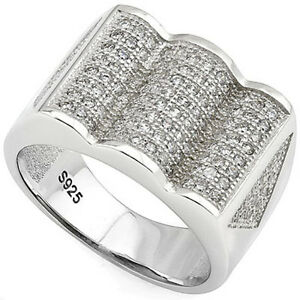 MICROPAVE CREATED WHITE DIAMONDS PLATINUM OVER 925 STERLING SILVER MENS RING 7