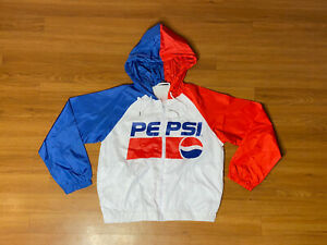 Pepsi Cola Wind Breaker Jacket Zip Up Retro Logo Spell Out Womens Sz Small