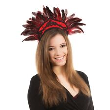Black Red Feather Carnival Headdress - Fancy Dress Black Feathers Accessory