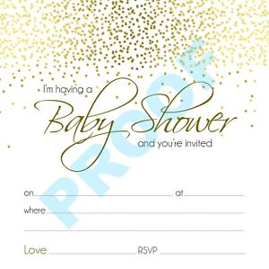 BABY SHOWER PARTY GLITTER INVITES PACK OF 10 with white envelopes 152x152