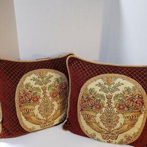 2 SHERRY KLINE Corona Square Decorative Floral Red Chenille Diamond Pillows