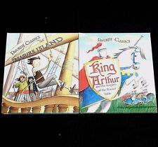 LOT 2 Classic Kids PICTURE Story BOOKS New TREASURE ISLAND King Arthur KNIGHTS
