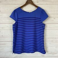 Ann Taylor Loft Cap Sleeve Striped Career Top Blouse Sz Large Blue Scoop Neck