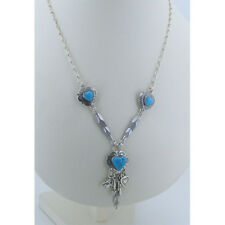 925 Sterling Silver Blue Turquoise named MY BROKEN HEART Feather Chain Necklace
