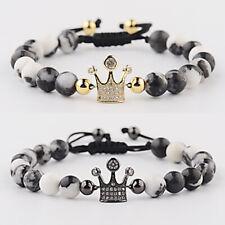 Luxury Men Women Micro Pave CZ King Queen Crown Natural Stone Bracelet Xmas Gift