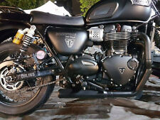 Triumph Bonneville T100  MassMoto Exhaust Full System 2in1 Hot-Rod BLACK New
