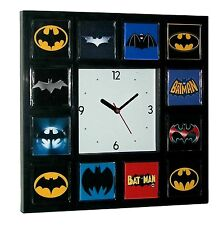 History of Batman Clock Bat Signal Movie TV Comics with 12 classic logo