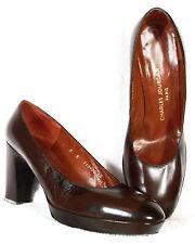 NIB! CHARLES JOURDAN 'DOLLY' Dark Brown Kid Leather Platform Heels 9B 40