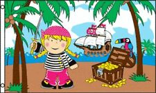 3'x5' TREASURE ISLAND GIRL PIRATE FLAG BANNER GOLD CHEST SHIP OUTDOOR NEW 3X5
