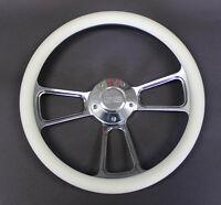 "Monte Carlo Nova Chevelle Steering Wheel White & Billet Grip 14"" SS Center Cap"