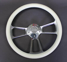 "Monte Carlo Nova Chevelle Steering Wheel White & Billet Grip 14"" SS Center Cap"