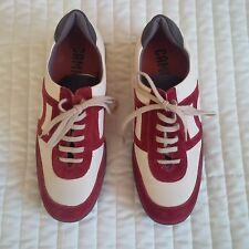 NEW CAMPER LEATHER SUEDE SHOES TRAINERS CREAM RED SIZE 5