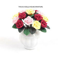 Mixed Roses in a White Pot , Dolls House Miniature 1:12th Scale Garden Flowers