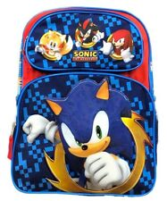 """Large Sonic The Hedgehog Boys School Backpack Deluxe Book Bag Kids Toy Gift 16"""""""