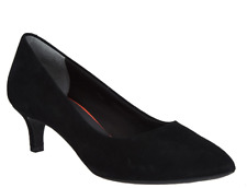 Rockport Total Motion Suede Kitten Heel Pumps Kalila Black Women's Shoes 6 New