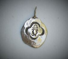 """Southwestern 1 1/8"""" Sterling Silver Handmade Etched Disc Pendant"""