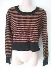 SIZE 12 WOMEN'S BLACK AND BROWN LONG SLEEVE 'HOT OPTIONS' JUMPER / TOP