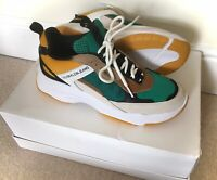 New CALVIN KLEIN Jeans Green Maya Suede Womens Size 6 Trainers Sneakers Shoes