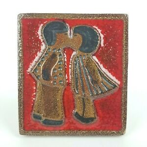 Soholm Denmark Wall Tile Plaque Boy Girl Kissing Red Pottery Love Valentines