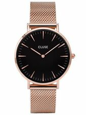 Cluse Womens La Bohème CL18113 Rose Gold with Black Dial Mesh Dress Watch