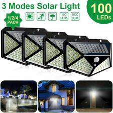 1-4X 100LED Solarleuchte Solarlampe Bewegungsmelder Außen Fluter Sensor Strahler