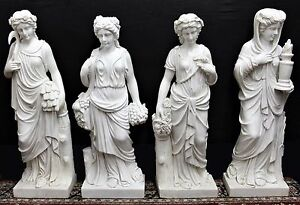Superb Set of 4 Hand Carved Four Seasons Italian Carrara Solid  Marble Statues