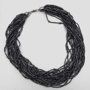 Heishi Toursad Multistrand Necklace Black  (d142)