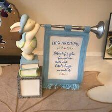 Hallmark Keepsake Baby boy Announcement Frame Birth Bunny Figurine Blue