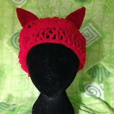 """Red Crocheted Tam Hat With Matching """"Stay Put"""" Ears, Kitty Hat,Artisan Made"""