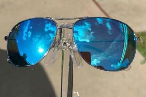 Maui Jim Cliff House Polarized Titanium Sunglasses B247-17 Silver/Blue Display