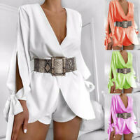 Women Long Sleeve Shorts Pant Playsuit Bodycon Satin Jumpsuit&Romper Trousers