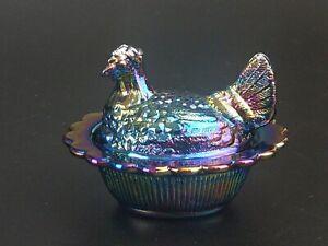 Mosser Miniature Blue / Purple Carnival Glass Hen on Nest Covered Dish