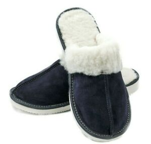 WOMEN NATURAL LEATHER BLUE SUEDE 100% WOOL HOUSE WINTER SLIPPERS 6 7 8 9 9,5 10