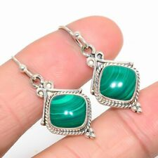 "Malachite Vintage 925 Sterling Silver Jewelry Earring 1.42"" M95281"
