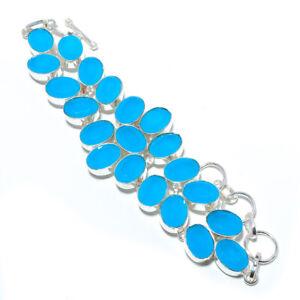 "Chalcedony 925 Sterling Silver Ethnic Bracelet 7-7.99"" M1443"