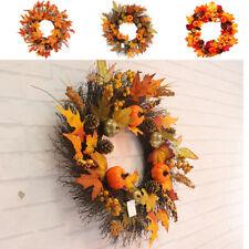 45CM Fall Door Pumpkin Wreath Autumn Color Maple Leaf Garland Decor Thanksgiving