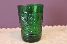 "ANCHOR HOCKING FOREST GREEN DEPRESSION 4"" TUMBLER(S) - SANDWICH PATTERN"