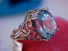 10k white gold Filigree 5 CT Large Oval Cut Blue Topaz  Fantastic Ring Sz 7 NWT