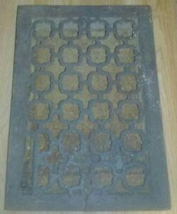 """Antique Cast Iron Heat Register Vent Grate with Louver - 13-1/2"""" x 9-3/4"""""""