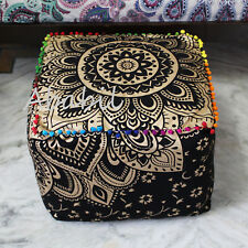 "18"" Indian Square Ottoman Pouf Cover Indian Black Golden Mandala Throw"
