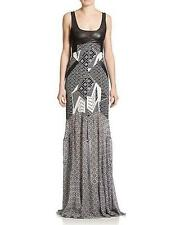 Diane von Furstenberg Black Bali Silk Leather DVF Serena Maxi Dress $998 NWT 12
