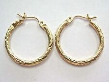L@@K Beautiful 14k Yellow GOLD Hoop Earrings Diamond-cut ladies girls Very nice!