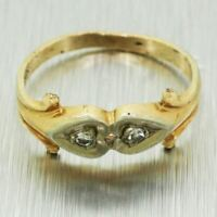Antique Art Deco 14k Solid Yellow & White Gold 0.04ctw Diamond Small Heart Ring
