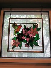 Hand Made by Local Artist Stained Glass Hummingbird & Flowers Themed GORGEOUS!