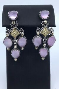 Konstantino 18k Gold & Sterling Doublet Crystal Quartz Over Chandelier Earrings