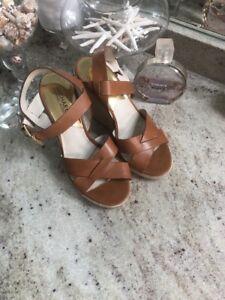 Michael Kors CELENA Leather  Ankle Strap Wedge Sandal Luggage 8 High