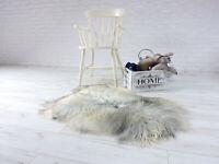 REAL ICELANDIC SHEEPSKIN RUG SILVER GREY SHAG RUG FLUFFY RUG AREA RUG 514